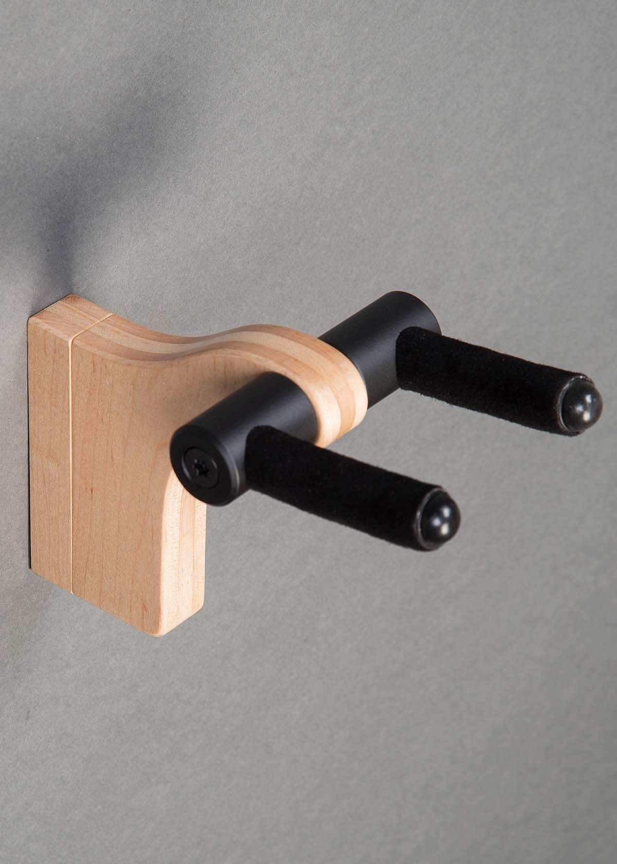 WM Guitar Stand in Curly Maple with Ebony Binding