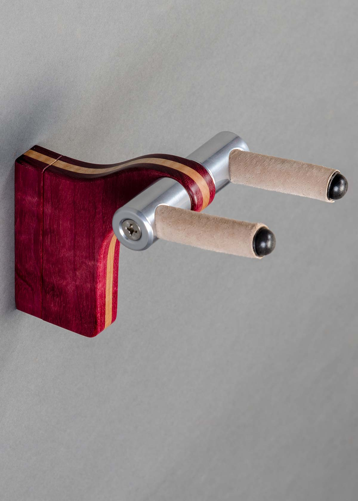 WM Guitar Stand in Curly Maple with Bubinga Binding