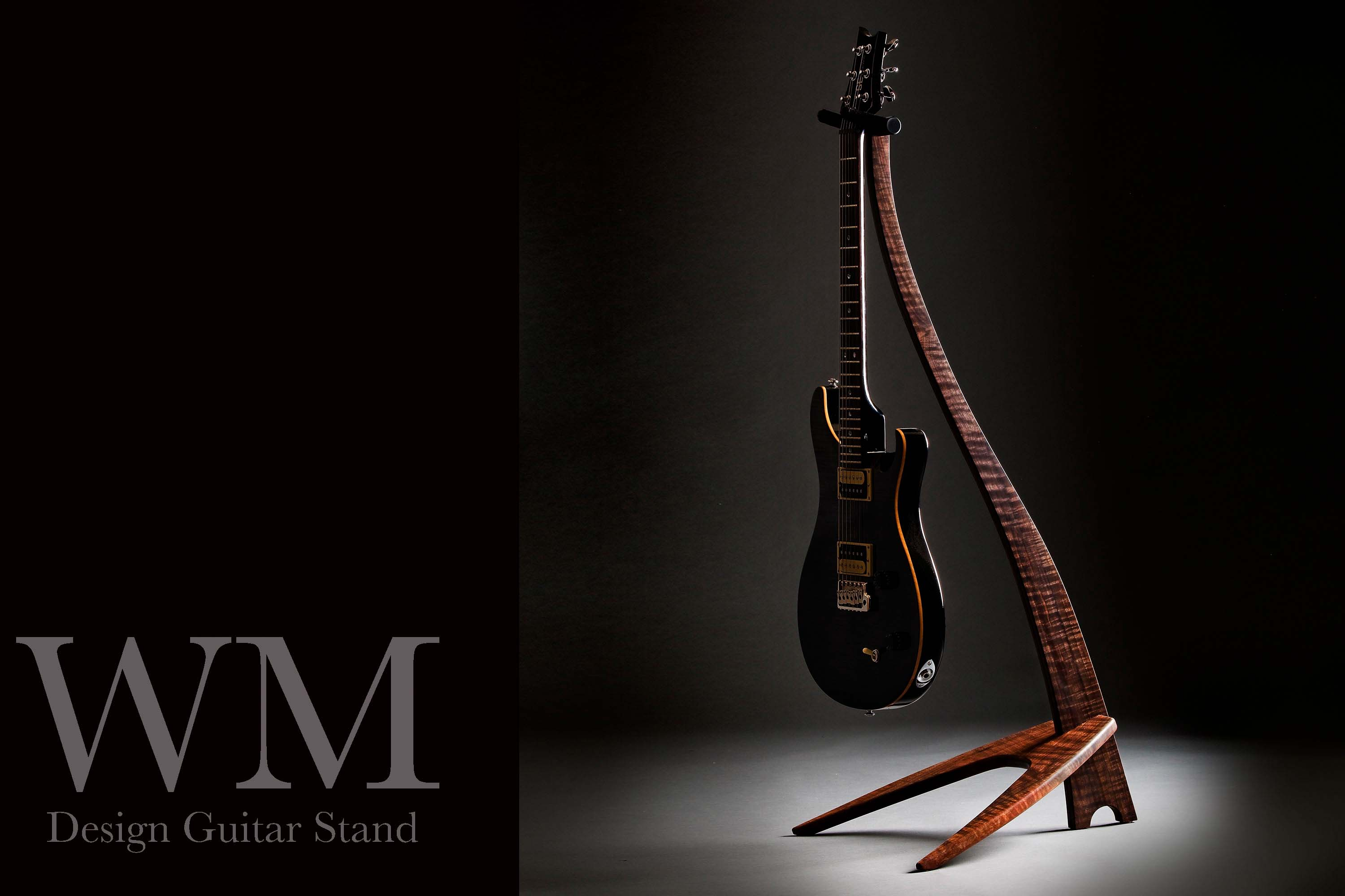 WM Guitar Stand in black dyed curly maple.