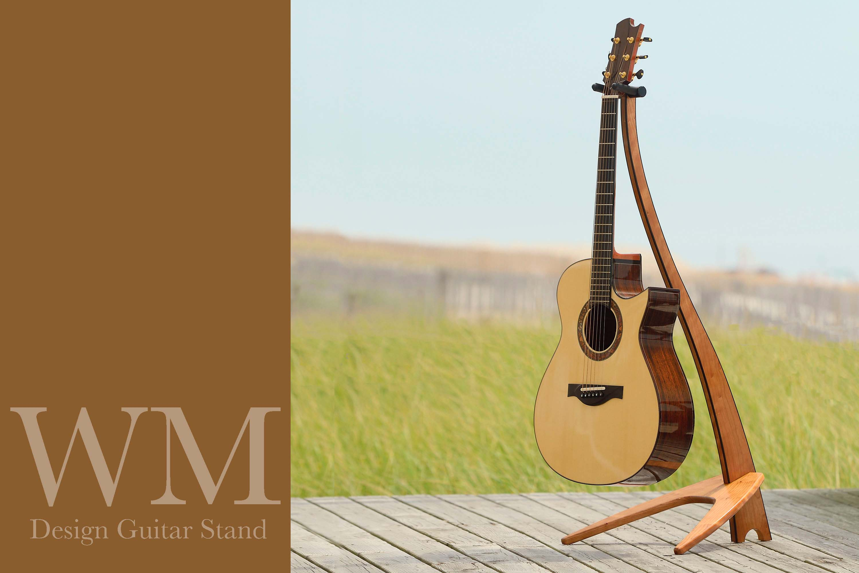WM Guitar Stand in cherry with ebony binding.