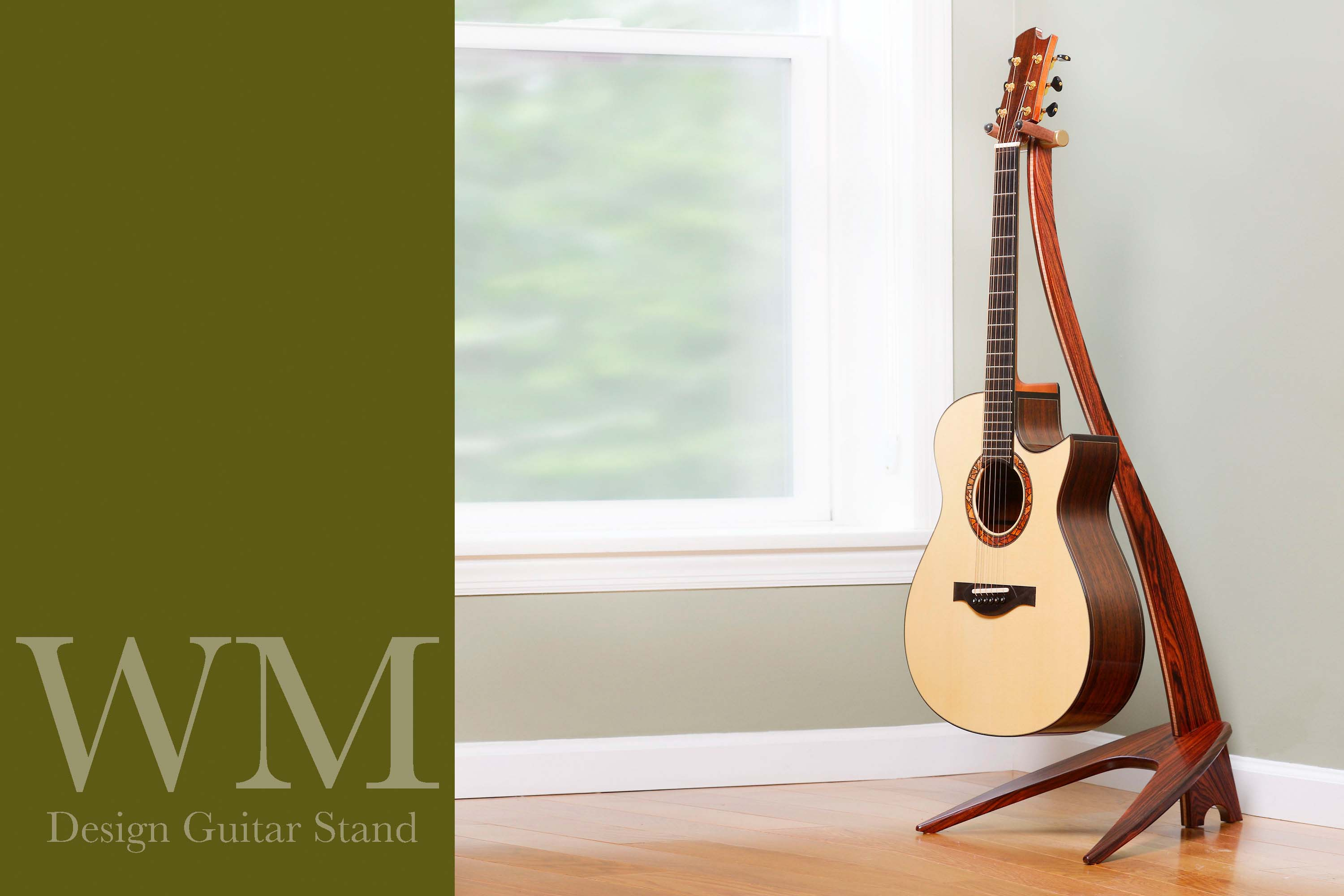 WM Guitar Stand in cocobolo with curly maple inlay.