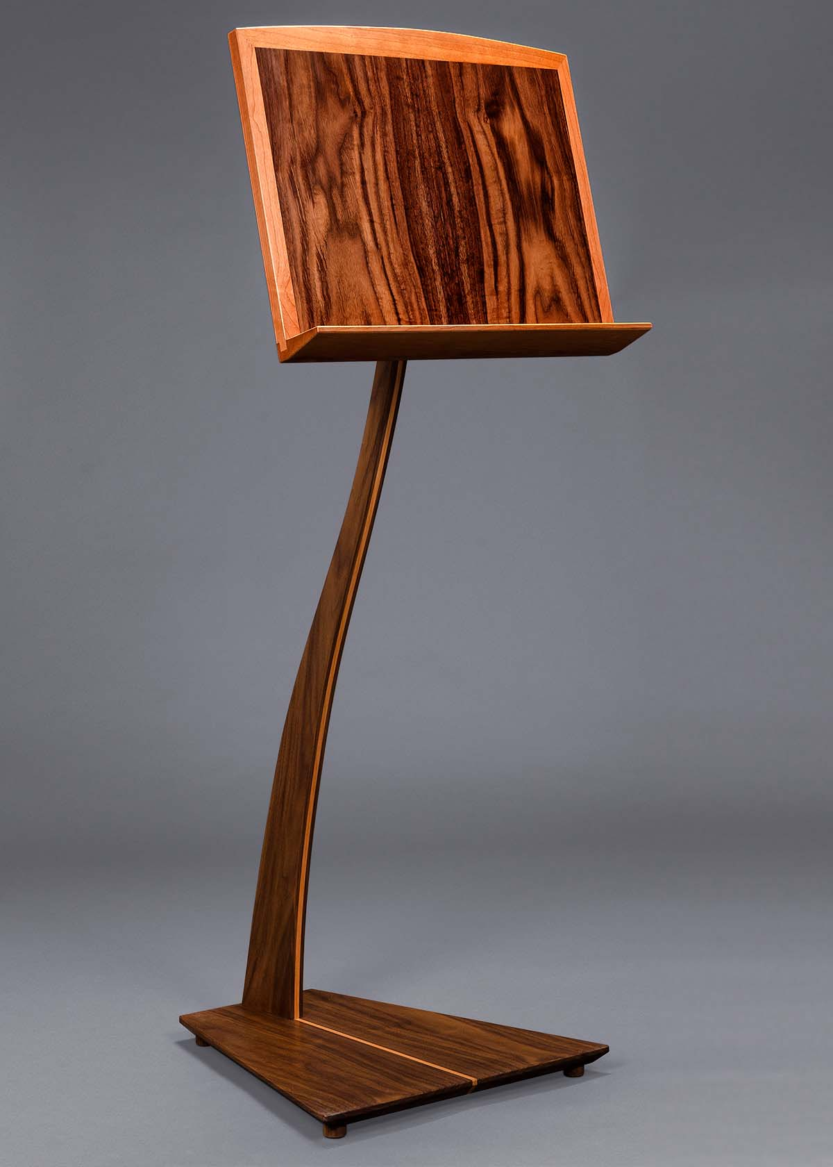 SM Music Stand - Walnut with Cherry Inlay