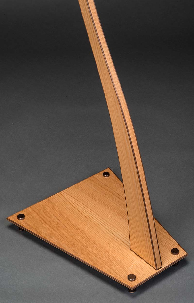 SM Guitar Stand in Red Oak with Walnut Binding & Copper Feet