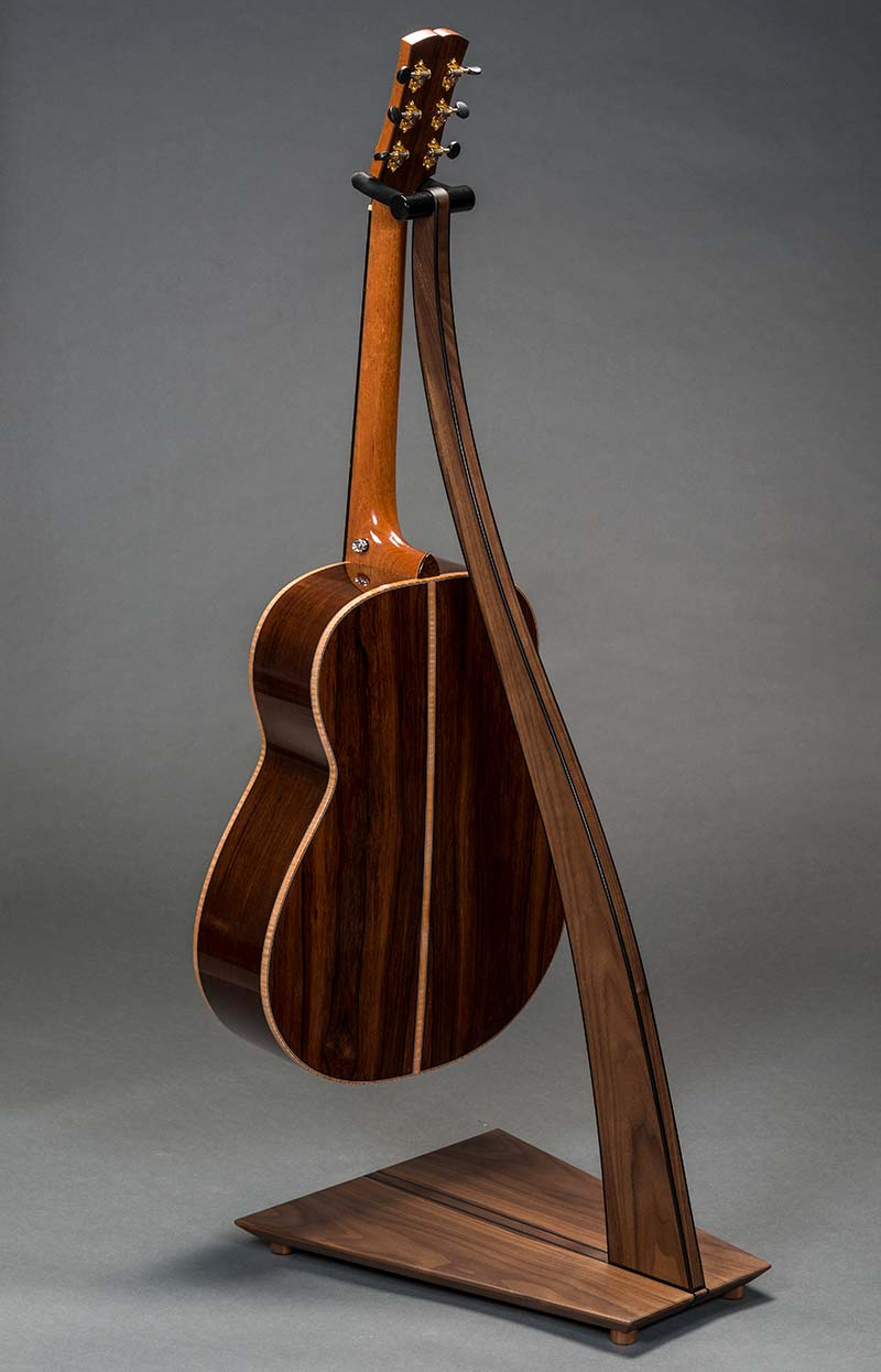SM Guitar Stand in Walnut with Ebony Edge Bindng and Inlay