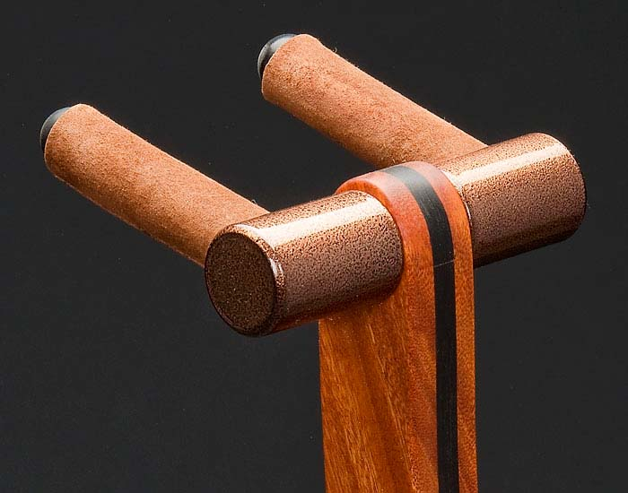 Copper powdercoated aluminum top parts on santos mahogany with ebony inlay.