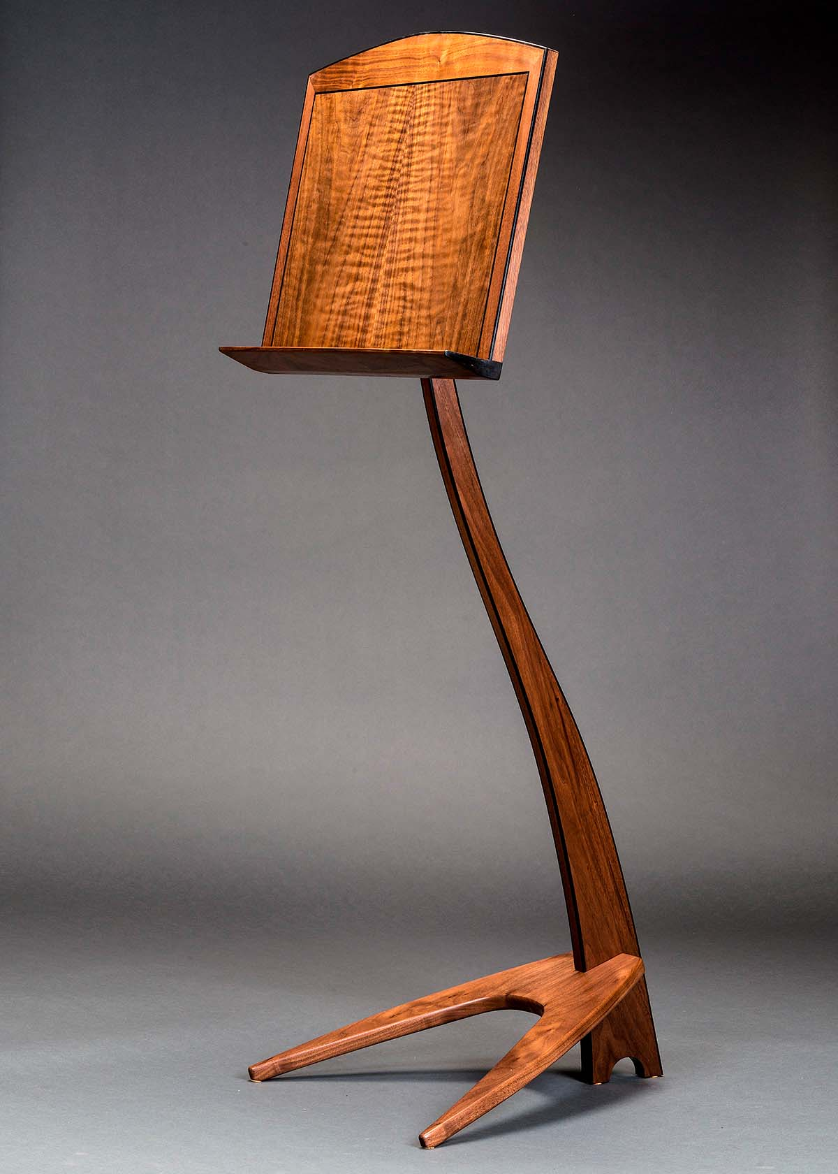 WM Music Stand in Claro Walnut with Ebony Binding