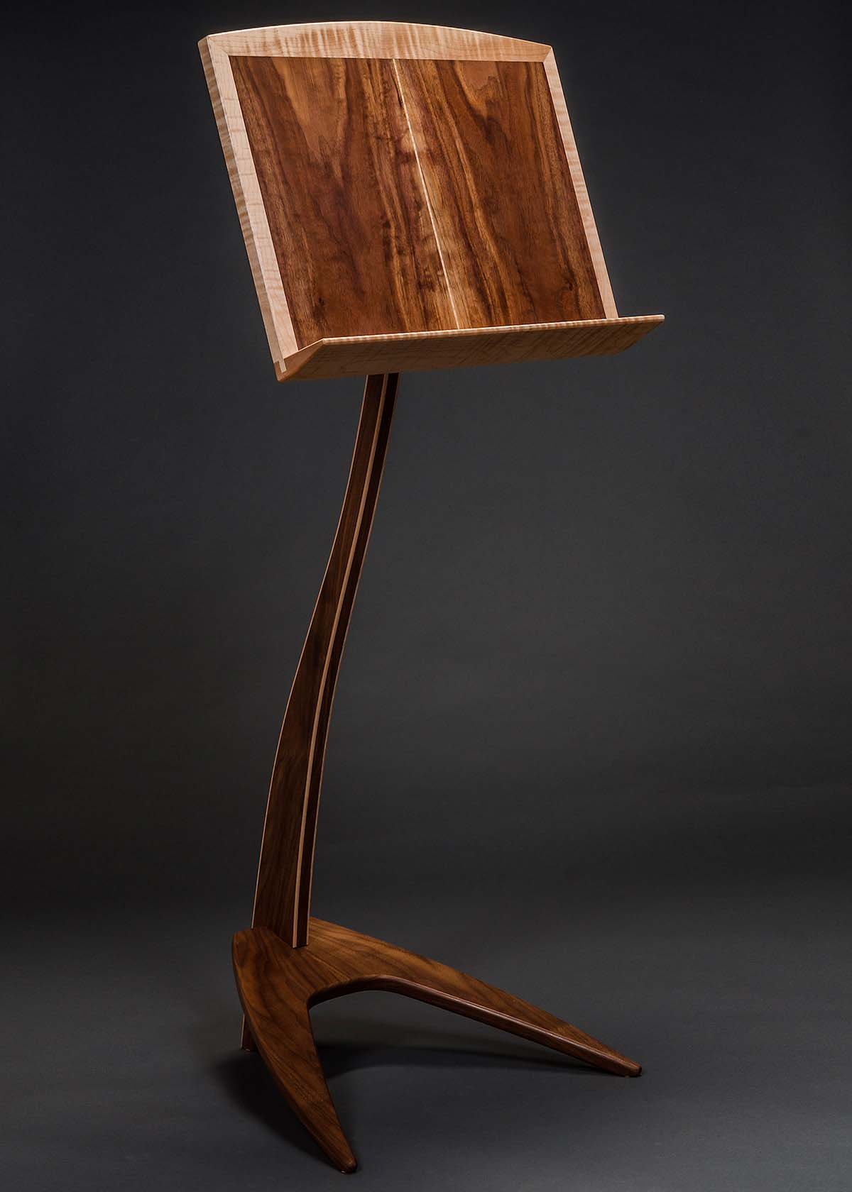 WM Music Stand in Walnut with Curly Maple Binding