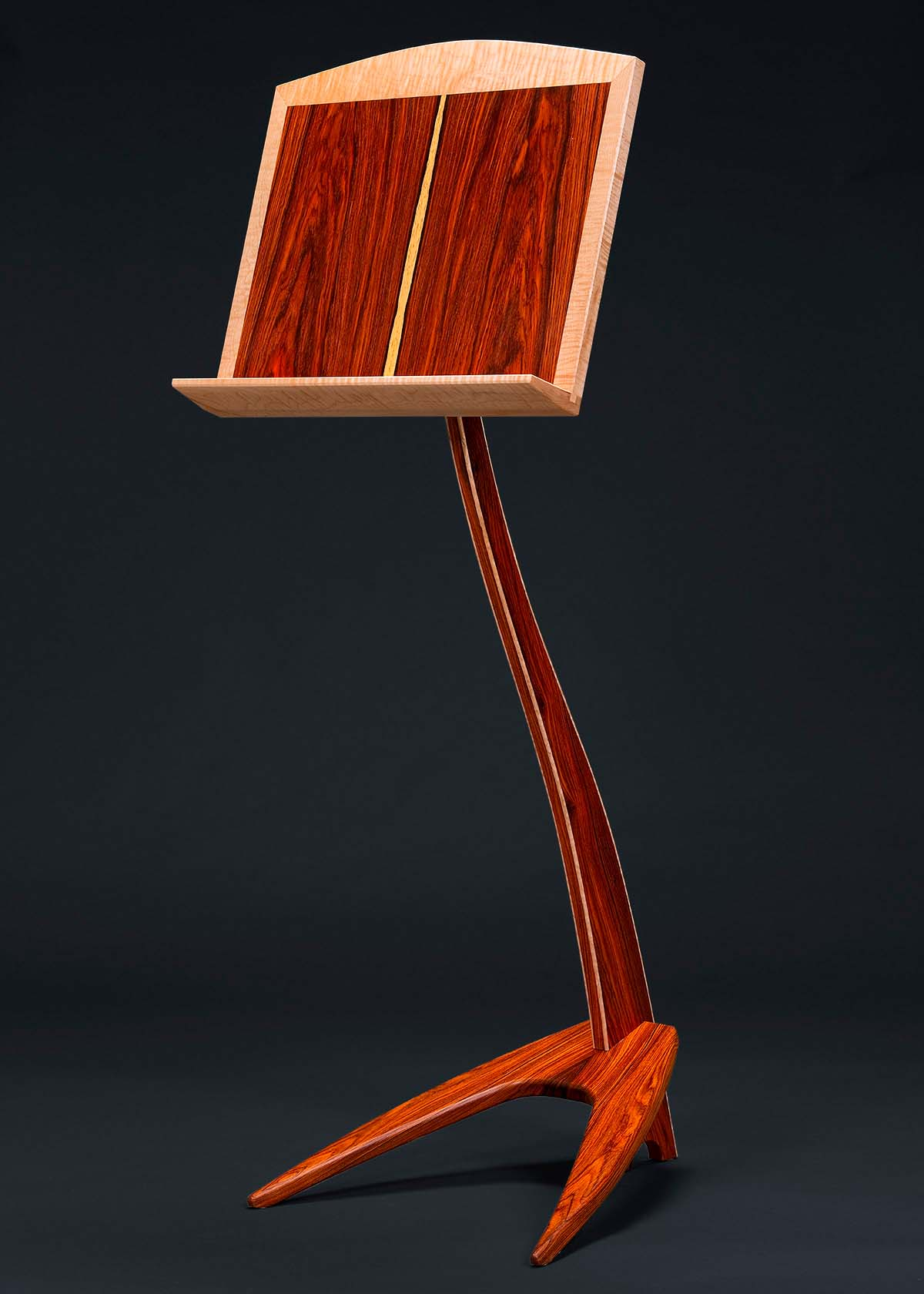 WM Music Stand in Cocobolo with Curly Maple Binding